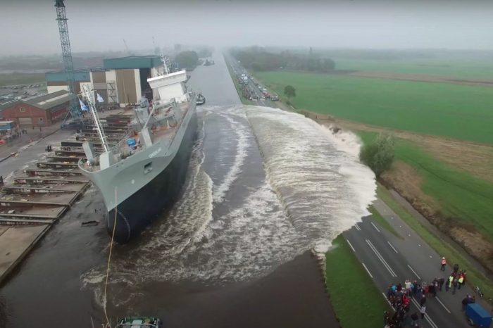 The Ship Launching Ceremony for This Cement Carrier Was an Incredible Spectacle