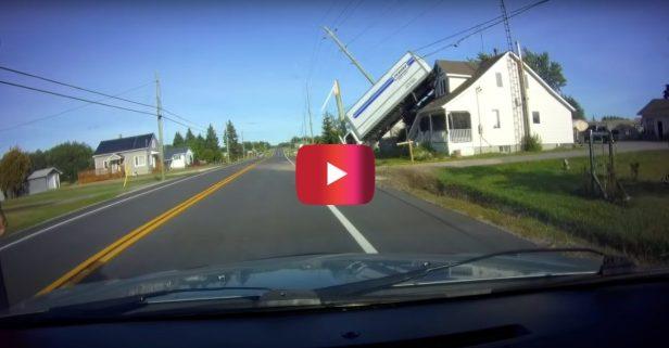 Truck Crashes Into Telephone Pole, Flips Onto House