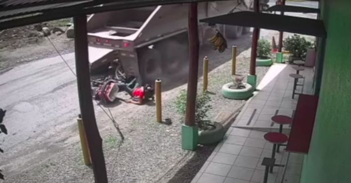 Shocking Video Shows Truck Nearly Crush Motorcycle Rider