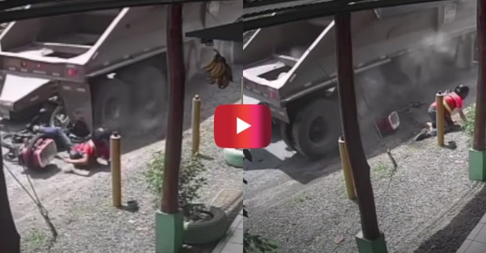Truck Crushes Motorcycle, Rider Barely Escapes
