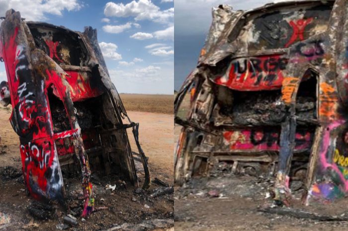 One of Cadillac Ranch's Oldest Vintage Cars Set on Fire