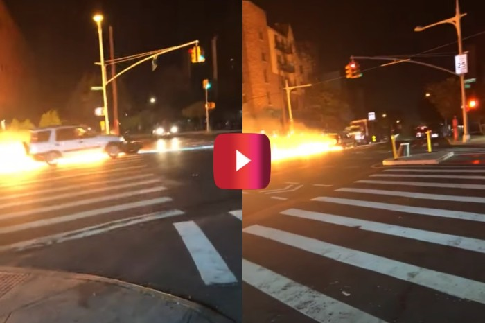 Car Pushes Flaming Motorcycle Down NYC Street