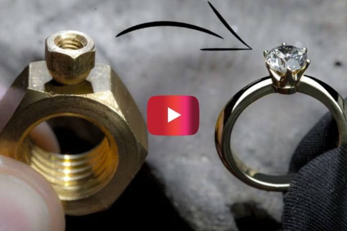 Master Craftsman Turns 2 Hex Nuts Into a Diamond Ring