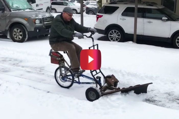 This Bike-Powered Plow Is a Nifty Invention for That First Dusting of Snow
