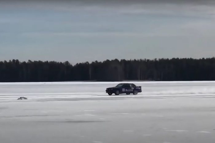 The Fastest Car on Ice Hits Top Speed of 215 MPH