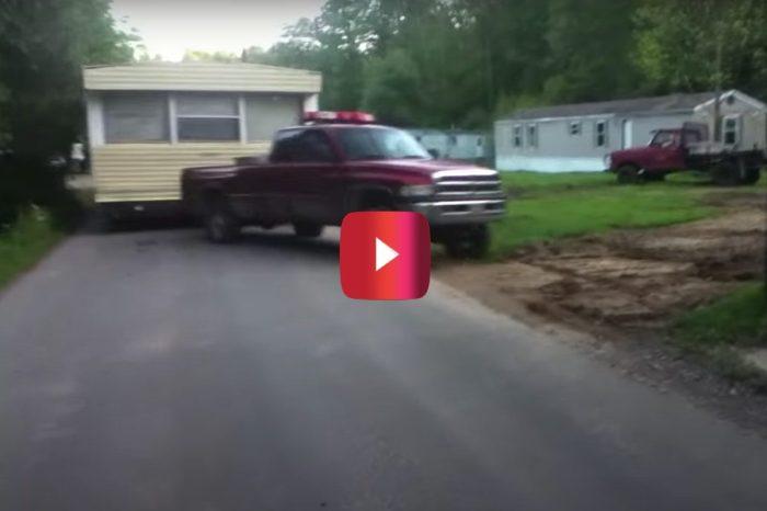 Dodge Truck Hauls Single Wide Trailer