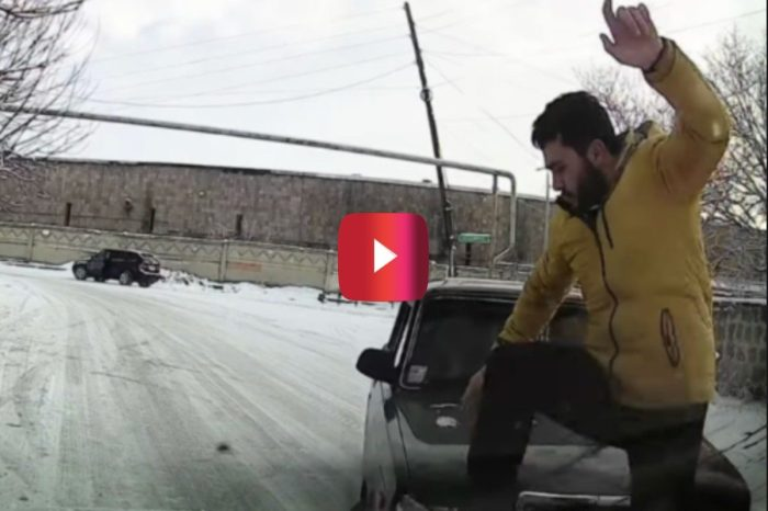 Mechanic With Fast Reflexes Avoids Car Sliding on Ice