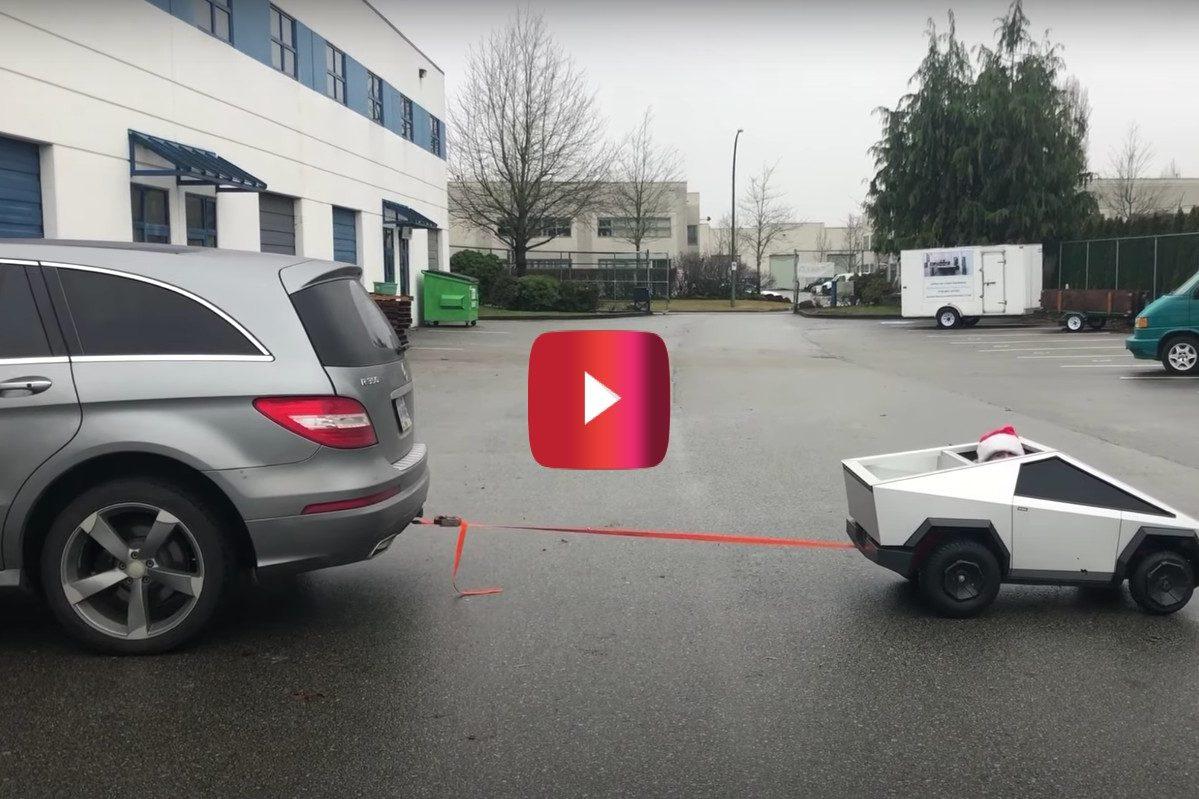 Mini Cybertruck Pulls Mercedes R Class