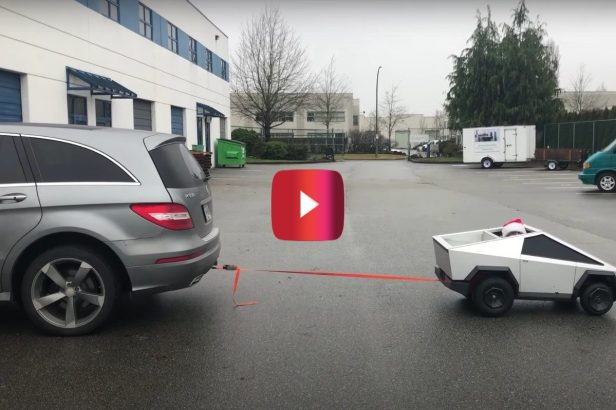 Mini Tesla Truck Tows Full-Sized Mercedes