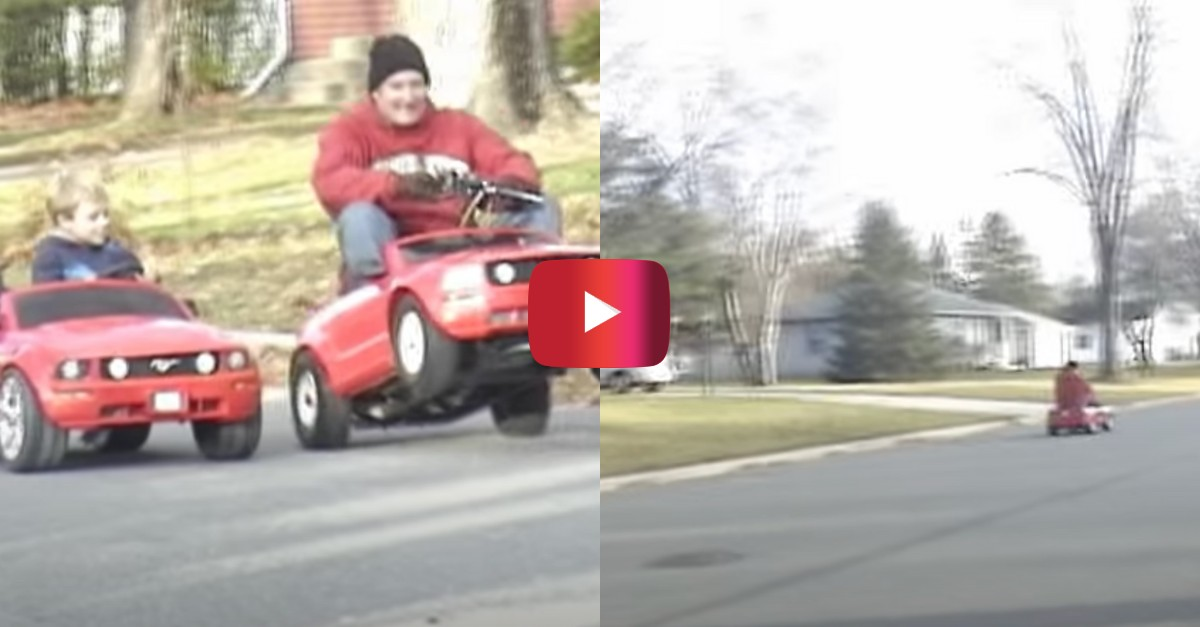 man smokes kid in power wheels mustang race