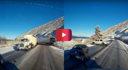 trucker dodges accidents