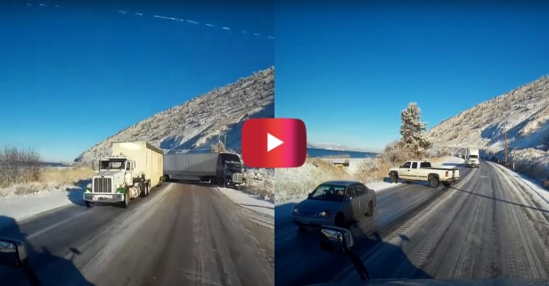 Trucker Dodges Several Icy Accidents on Oregon Highway
