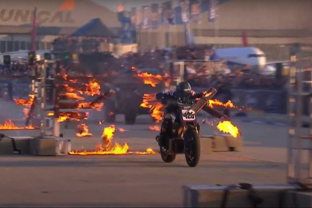 Pro Motocross Rider Vicki Golden Smashes Through 13 Flaming Boards in Record-Breaking Stunt