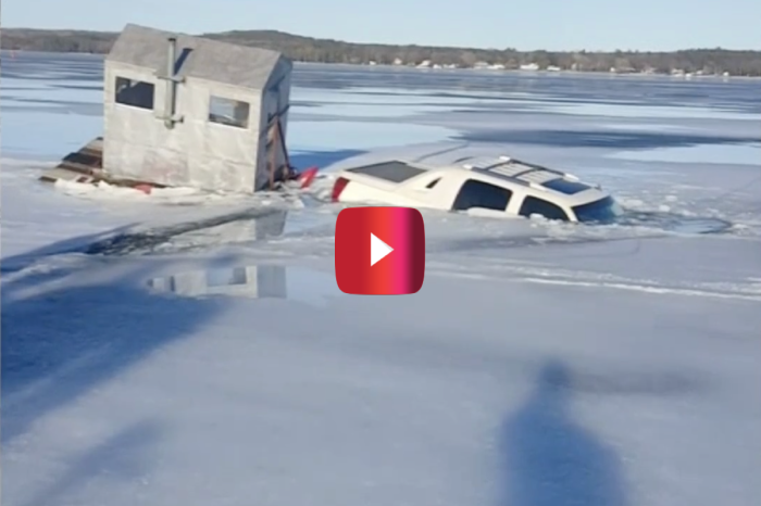 It's All Fun and Games Until Your Truck and Ice Shanty Sink Into a Lake