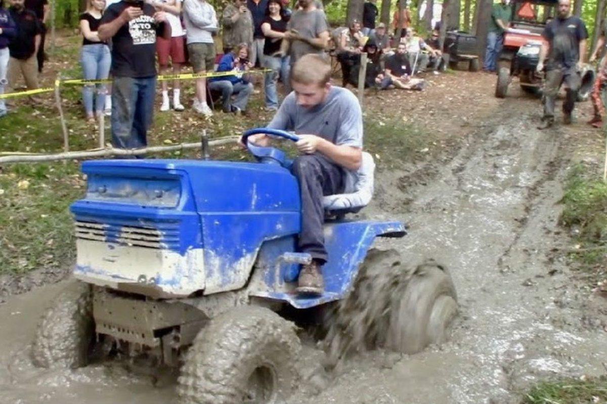 mower mud running