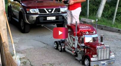 rc semi truck vs. nissan suv