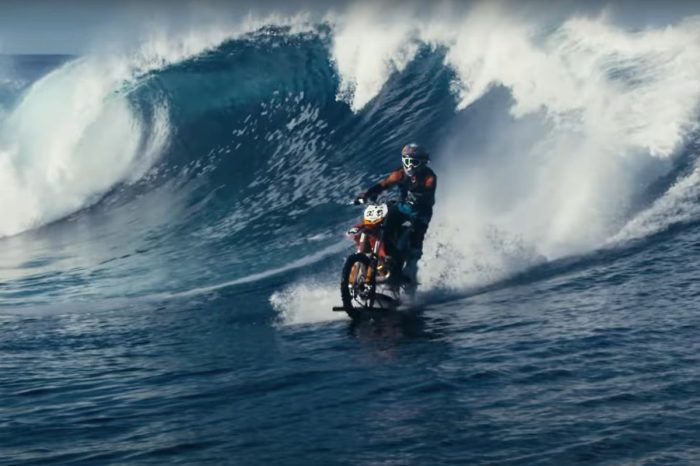 Stunt Rider Surfs Pacific Ocean on Modified Motorcycle