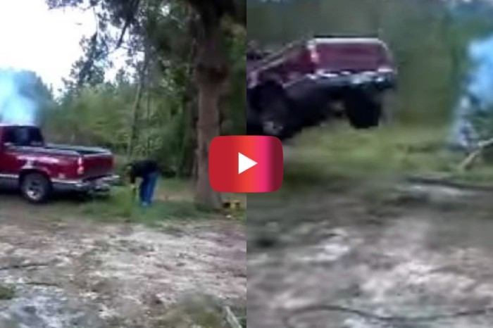 Man Flies Out of Truck Trying to Pull Down Tree