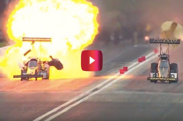Top Fuel Dragster Explodes Into Fireball, Racer Walks Away Unharmed