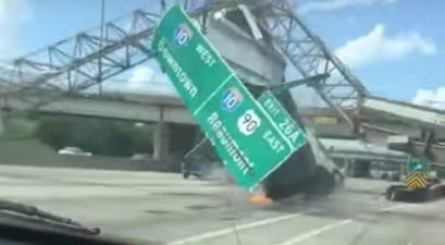 dump truck highway sign crash