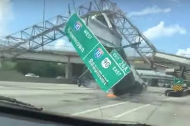 Dump Truck Absolutely Destroys Highway Sign