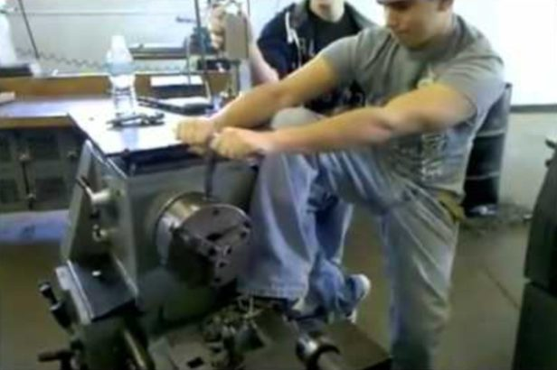 Kid Messes With Hydraulic Lathe, Nearly Snaps Leg in Half