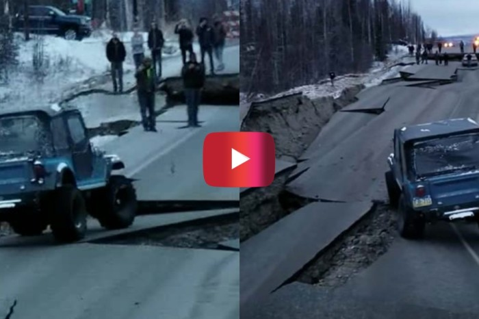 Old Jeep Crosses Earthquake-Ravaged Road in Alaska