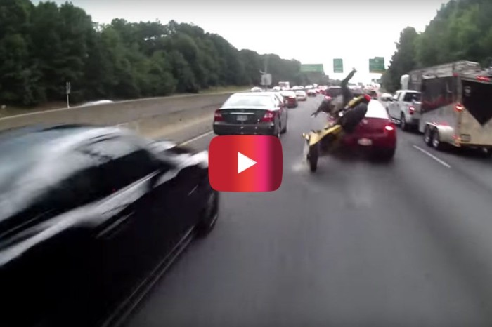 Lane-Splitting Biker Eats It Hard