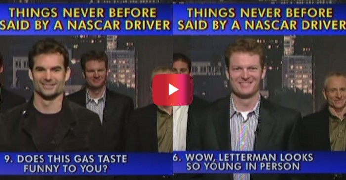 "Jeff Gordon, Dale Jr. Joke Around in ""Late Show"" Top 10 Segment"