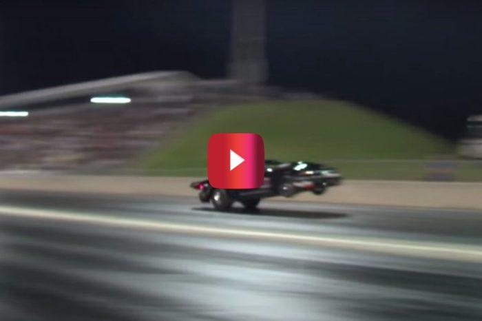 Drag Racer in Twin-Turbo Mustang Hits 196 MPH on Rear Wheels