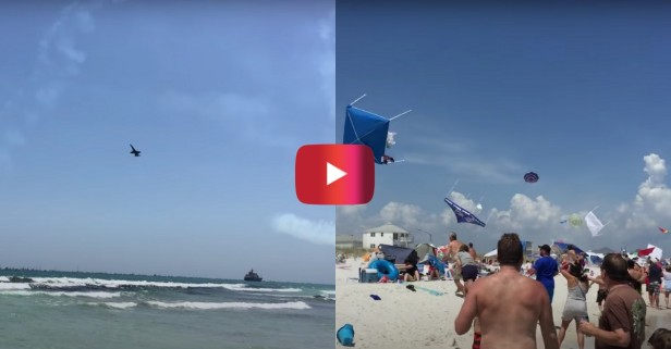 Blue Angels Beach Flyby Sends Things Into the Air