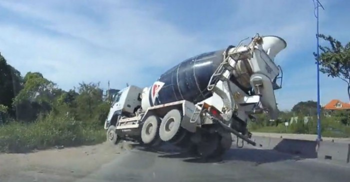 Cement Truck Crashes off Road After Failed Evasive Move