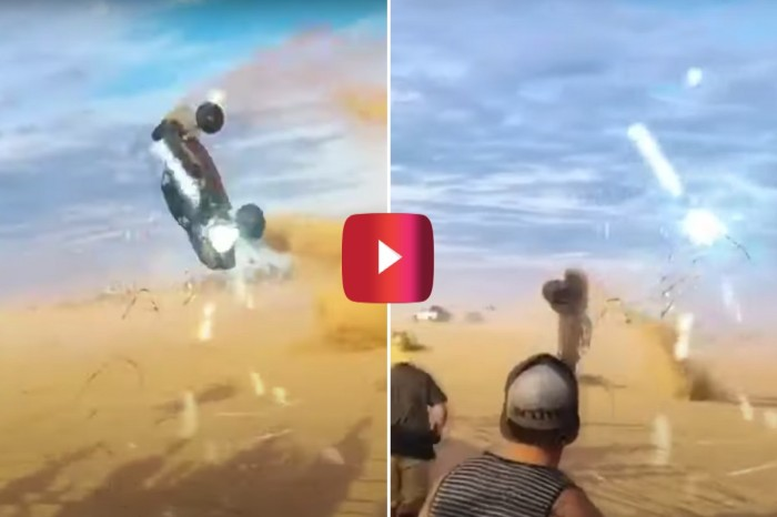 Dune Buggy Flies Through the Air During Wild Race Wreck