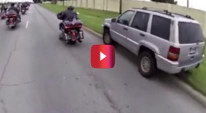 jeep driver cuts off veteran bikers