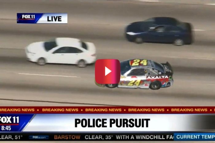 "Jeff Gordon ""Chased"" By Police in Classic NASCAR Gimmick"