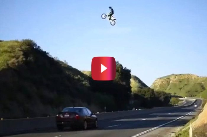 Dirt Biker Pulls Off Death-Defying California Freeway Jump