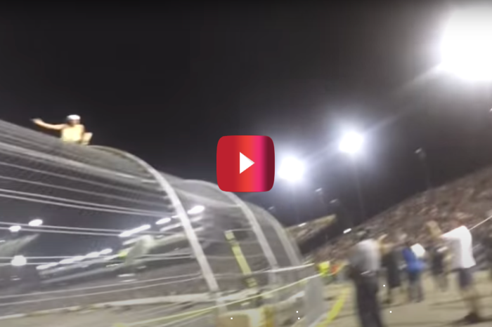 Drunk and Half-Naked NASCAR Fan Climbs Track Fence