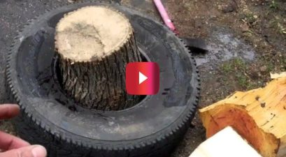 splitting wood using tire