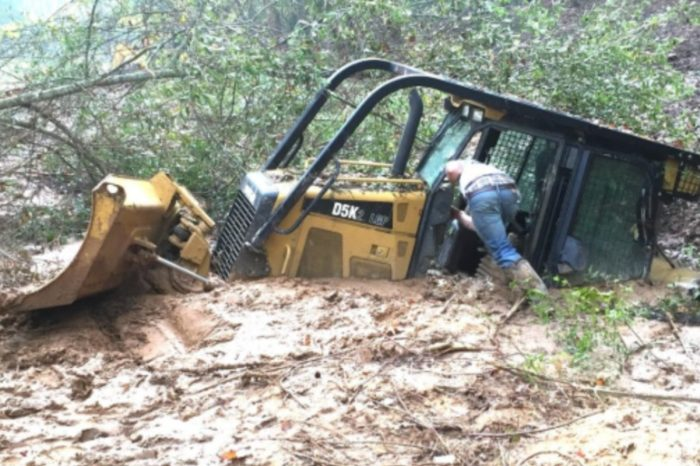 Bulldozer and Trackhoe Get Stuck in Mud During Botched Rescue Attempt