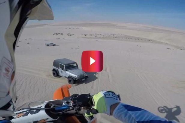 Dirt Bike Lands On Jeep After 100-Foot Flight Through Desert Sky