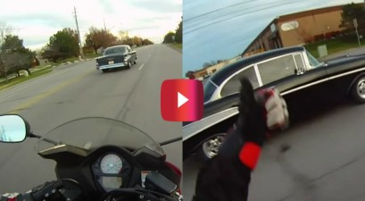 '57 chevy vs. suzuki motorcycle