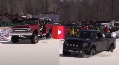 chevy blazer vs. ford raptor snow challenge
