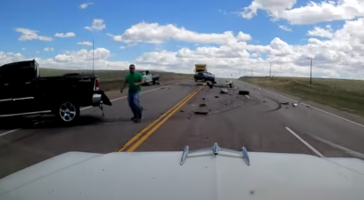 Pickup Barely Misses Car, But Causes Crash Moments Later