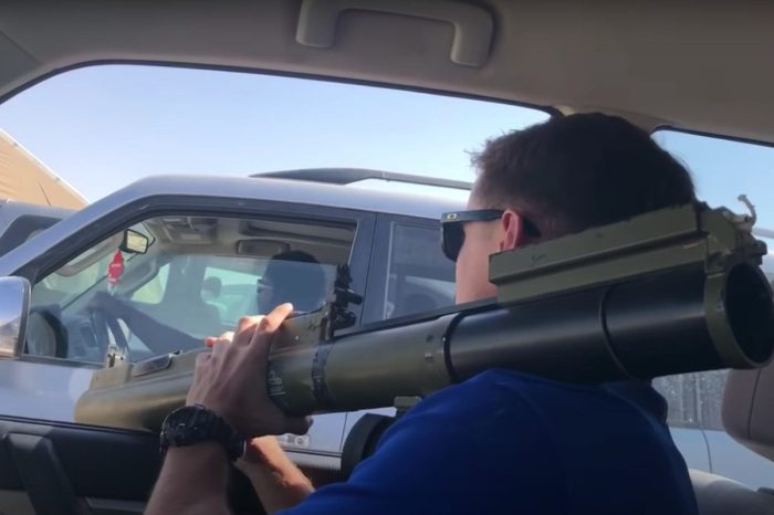 Soldier Whips Out Rocket Launcher for Fake Road Rage Video