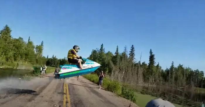 Jet Ski Jumps Over Road for Crazy Stunt