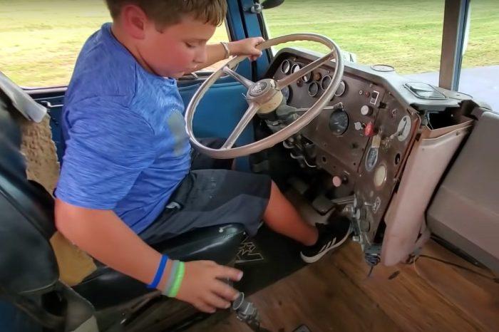 Kid Shifts Gears in 13-Speed Truck Like a Pro