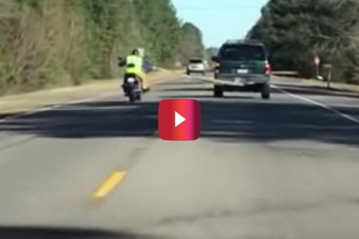 Car, Motorcycle, and Tow Strap Fail Causes Serious Crash