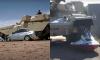 tank crushes car and jet ski