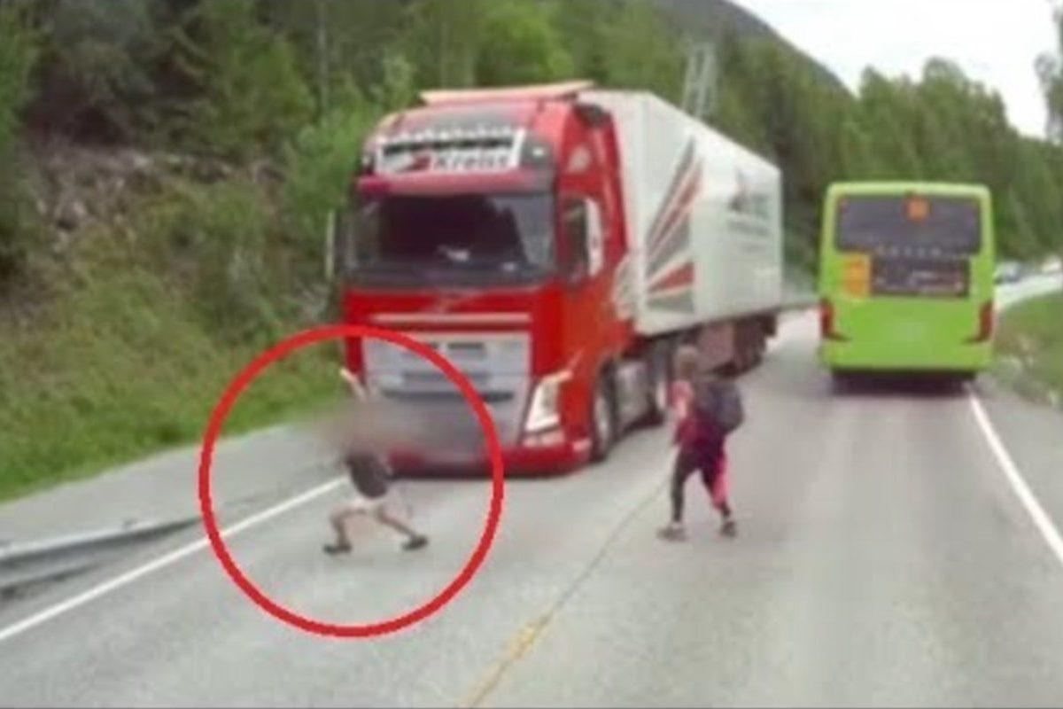 volvo trucking braking save