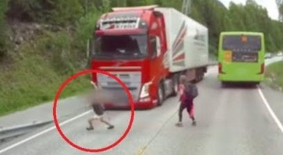 volvo trucking braking save